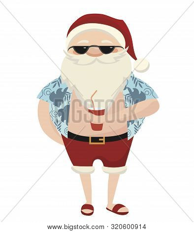 Cartoon Santa At The Resort. Illustration Of Santa Claus With Glasses On The Beach. Christmas Illust