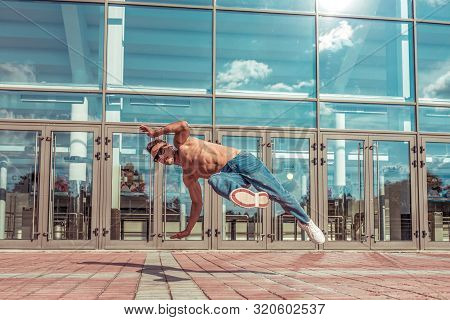 Fitness In Jump, Sporty Man Dancing Break Dance, Naked Torso Inflated, Young Guy, Free Space Text Li