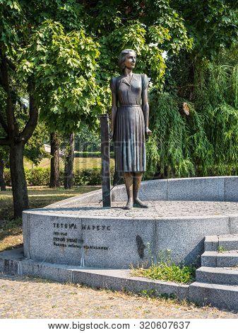 Kyiv, Ukraine - September 3, 2019: Monument To The Hero Of Ukraine Tetyana Marcus At Babi Yar In Kyi