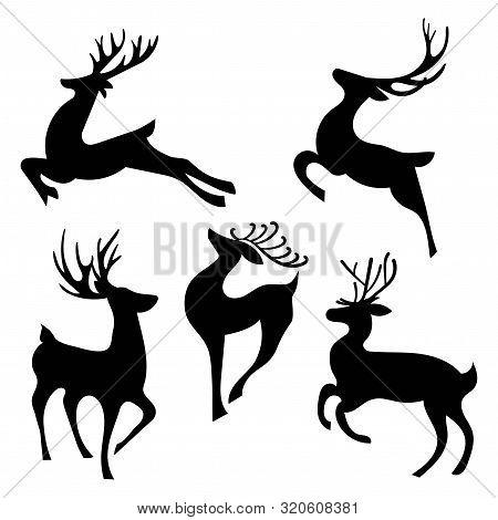 Set Of Silhouettes Of Running Deer. Collection Of Christmas Deer. Leaping Deer Santa. Vector Illustr
