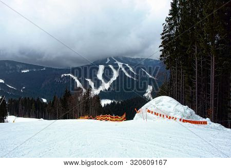 Ski Slope In Winter Mountains. Carpathians Mountains.