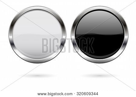 Round Glass Buttons. Black And White Icons With Metal Frame. Vector 3d Illustration Isolated On Whit