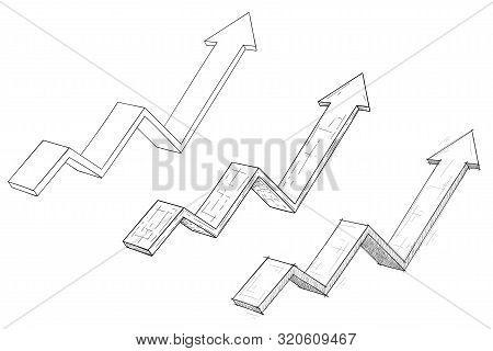 Financial Rising Arrows Set. Hand Drawn Sketch And Outline Signs. Vector Illustration Isolated On Wh