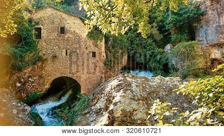 Watermill At Vis River In Circus Of Navacelles (cirque De Navacelles) In Cevennes National Park. Gar