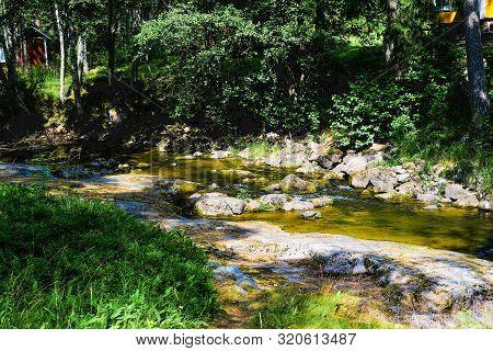 Finland, Kotka: Langinkoski Rapid On Kumi River. Fast Forest Granite Bottom Creek.