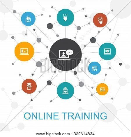 Online Training Trendy Web Concept With Icons. Contains Such Icons As Distance Learning, Learning Pr