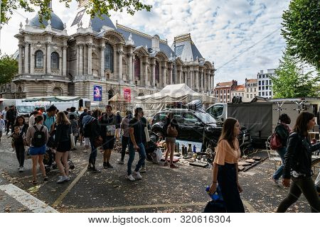 Lille,france-september 01,2019: Great Lille Braderie It Is A Traditional Annual Event On The First W