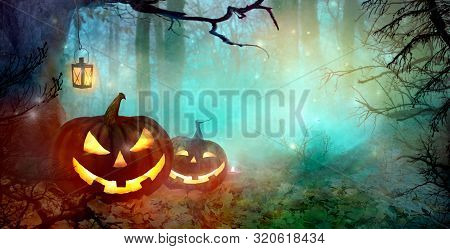 Halloween Backdrop With Jack O' Lantern
