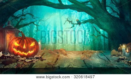 Halloween With Pumpkins And Dark Forest