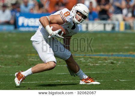 PASADENA, CA. - SEP 17: Texas Longhorns WR Jaxon Shipley #8 in action during the NCAA Football game between the Texas Longhorns & the UCLA Bruins on Sep 17 2011 at the Rose Bowl.
