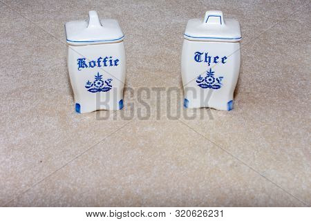 Delft Blue Coffee And Tea (koffie And Thee) Containers. Famous Porcelain Souvenirs From Holland/neth