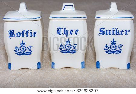 Delft Blue Coffee, Tea, And Sugar (koffie, Thee, Suiker) Containers. Famous Porcelain Souvenirs From
