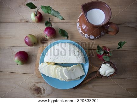 Tasty Fresh Milk Is One Of The Main Sources Of Nutrition. Mozzarella. Milk, Cheese And Apples. Rusti