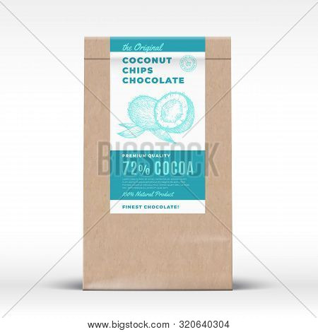The Original Coconut Chips Chocolate. Craft Paper Bag Product Label. Abstract Vector Packaging Desig