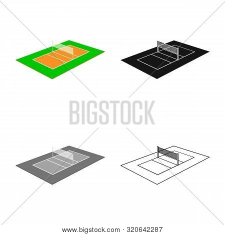 Vector Design Of Volleyball And Field Sign. Set Of Volleyball And Exercise Stock Vector Illustration