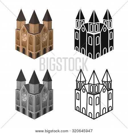 Vector Design Of Chapel And Vietnamese Logo. Set Of Chapel And Cathedral Stock Symbol For Web.