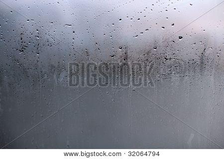 Water Drops On Glass Window