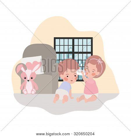 cute little kids babies in livingroom characters vector illustration design poster