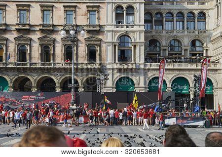 Milan, Italy - September 4th 2019: Ferrari Racing Formula One 90th Anniversary, Duomo Square. Fans
