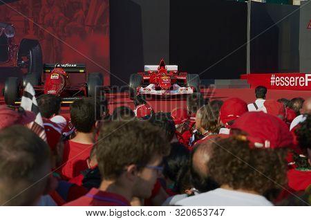 Milan, Italy - September 4th 2019: Ferrari Racing Formula One 90th Anniversary, Duomo Square. Michae