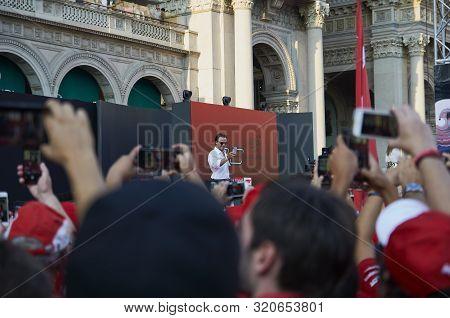 Milan, Italy - September 4th 2019: Ferrari Racing Formula One 90th Anniversary, Duomo Square. Felipe