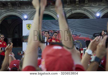 Milan, Italy - September 4th 2019: Ferrari Racing Formula One 90th Anniversary, Duomo Square. Mattia