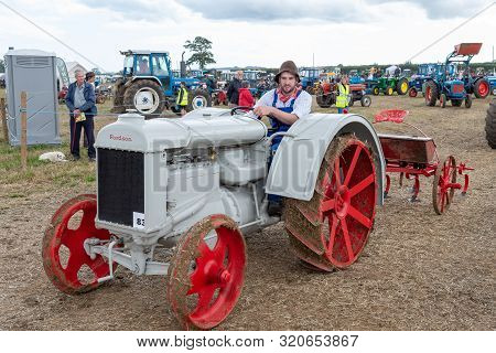 Haselbury Plucknett.somerset.united Kingdom.august 18th 2019.a Restored Vintage Forson Major Is Bein