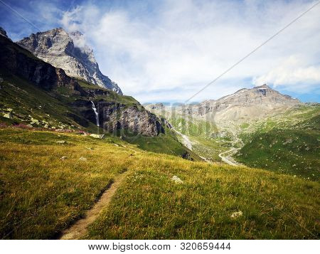 Landscape In The Mountains -  Monte Cervino - Matterhorn Mountains , Rifugio Duca Degli Abruzzi L`or