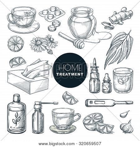 Home Remedies Treatment And Medicines For Colds, Coughs. Vector Hand Drawn Sketch Illustration. Heal