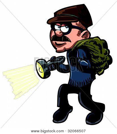 Cartoon Thief With A Flash Light