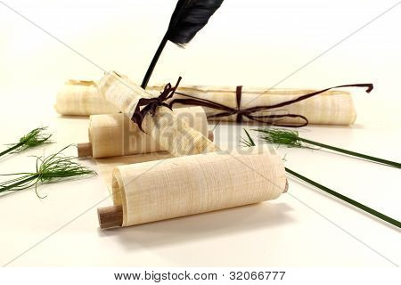 Papyrus Rolls With Inkpot And Quill