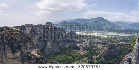 The Village Kastraki Seen From The Great Meteora Monastry, Greece