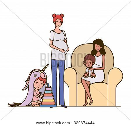interracial pregnancy mothers with little babies in livingroom vector illustration design poster