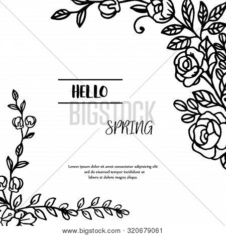 Black And White Graphic Leaf Flower Frame, For Design Element Of Card Hello Spring. Vector
