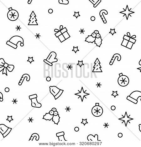 Simple Christmas Seamless Pattern With The Symbols Of The Christmas Holiday