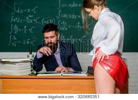 Sexy Seduction. Sexy Butt Red Latex Skirt In Front Of Teacher. Private Lesson. Seductive Offer. Chec