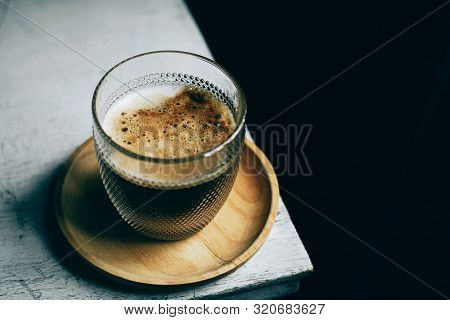 Closeup Cup Of Coffee On White Table
