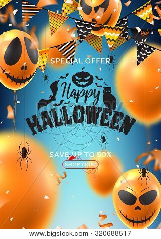 Holiday Poster For Halloween Sale. Vector Illustration With Realistic Orange Air Balloons With Scary