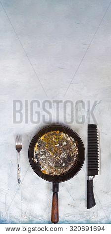 Empty And Dirty Frypan After Breakfast, Lunch Or Dinner