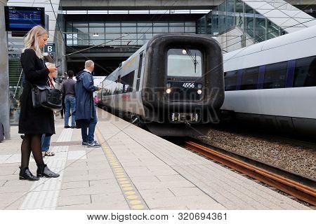 Copenhagen, Denmark - September 4, 2019: Arriving International Oresundstag At Orestad Railroad Stat