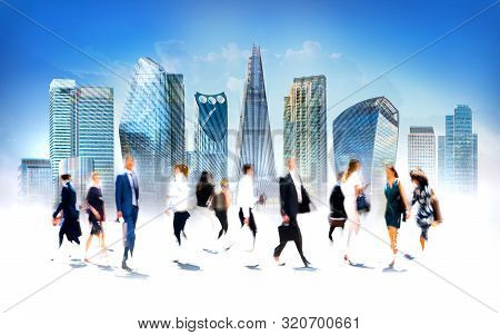 London, Uk. Business People Walking In The City Of London. Beautiful Blurred Wide Background Represe