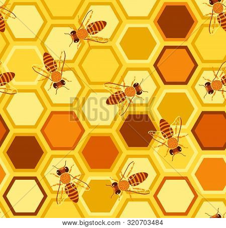 Bees In The Summer Seamless Pattern. Bees And Honey. Bees Are Sitting On The Comb. Background For Fa