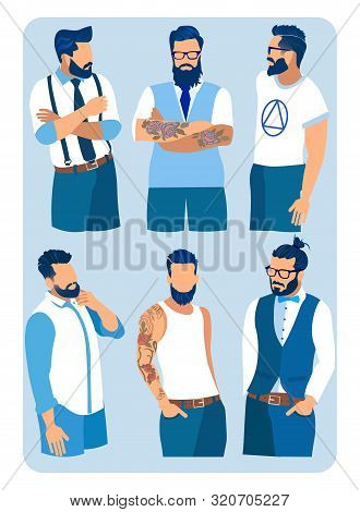 Set Of Men With Different Hairstyles, Beards And Mustache Fashion. Collection Of Contemporary Fashio