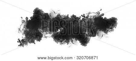 Acrylic black and white colors in water. Ink blot. Abstract background. Horizontal long poster, greeting cards, web site, banner, invitation.