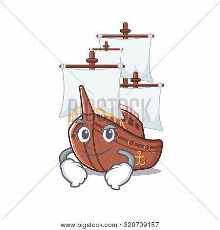 Smirking Miniature Pirate Ship Cartoon On Table
