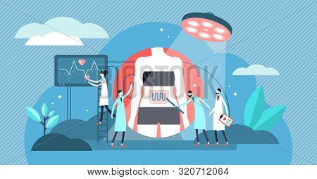 Surgery Vector Illustration. Flat Tiny Medical Care Process Persons Concept. Inner Organs Emergency