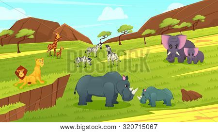Wild Predatory And Herbivorous Animals Of Africa Cartoon Vector Concept With Lions Pride Lying On Ro