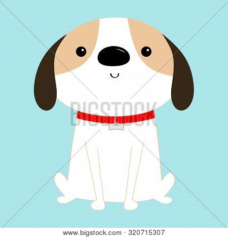 poster of Dog sitting. Red collar. White puppy pooch. Cute cartoon kawaii funny baby character. Flat design style. Help homeless animal concept. Adopt me. Pet adoption. Blue background. Isolated. Vector