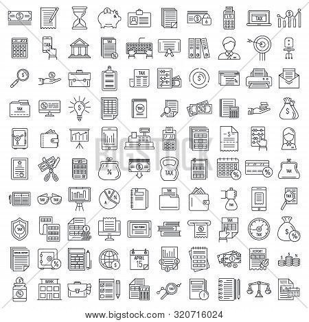 Financial Accountant Icons Set. Outline Set Of Financial Accountant Vector Icons For Web Design Isol