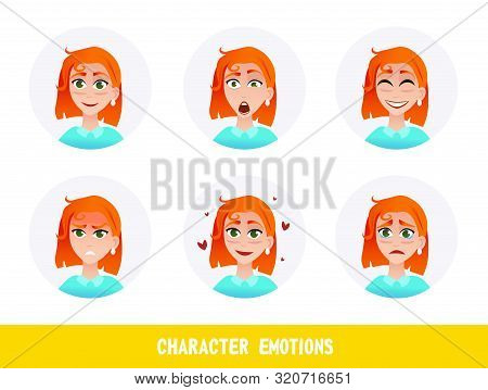 Leaflet Inscription Character Emotions Cartoon. Portrait Beautiful Red-haired Girl Experiencing Emot